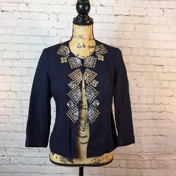 Chico's Jackets & Blazers - Chico's navy stud and crystal embellished jacket